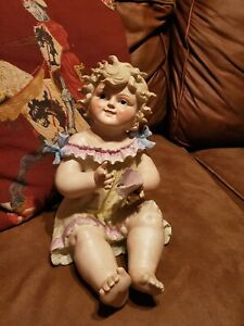 Antique Large Piano Baby Girl Doll Figurine W Bisque Dimples Germany Collection