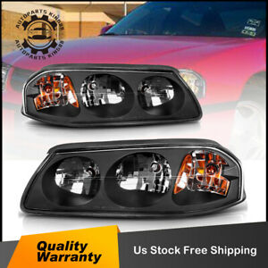For 2000 2005 Chevy Impala Pair Black Amber Turn Signal Headlight Lamp Assembly