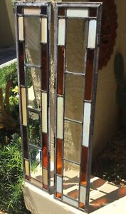 Antique Pr Arts Crafts Leaded Beveled Stained Glass Bungalow Window Panels