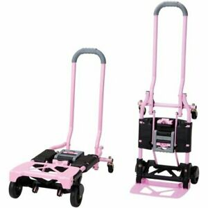 Folding Hand Truck And Cart Multi Position Convertible Dolly 300 Lb Cap Pink New