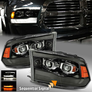 For 09 18 Ram 1500 2500 3500 Dual Drl Sequential Signal Projector Headlights