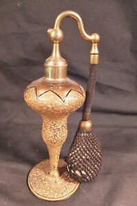 Antique Devilbiss Deco Atomiser Tall Gold Encrusted Deco Perfume Bottle Ca1930 S
