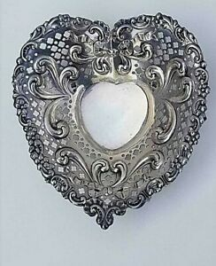 Chantilly By Gorham Sterling Silver Candy Dish Heart Shaped 966