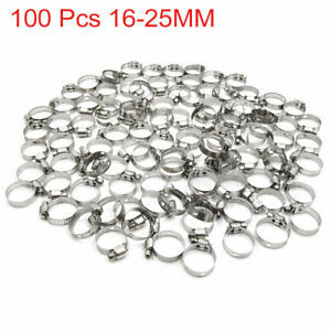 100pcs 16 25mm Stainless Steel Car Vehicle Drive Hose Clamp Fuel Line Worm Clip