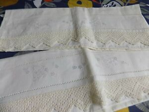 Vintage French Pure Linen Embroidered Pillowcases X 2 30 X 22