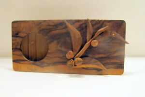 Hand Made Wood Folk Art Picture Photo Frame W Leaves Buds Branches