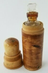 Antique Perfume Bottle Casket With Glass Scent Perfume Flask In Wood Case 4 5