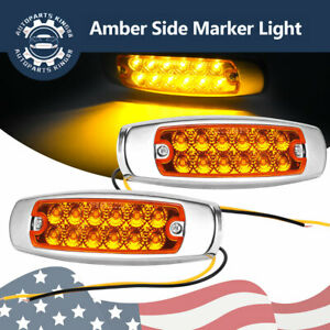 2x Amber 12 Led Sealed Side Marker Clearance Light Fish Shape Truck Trailer 24v
