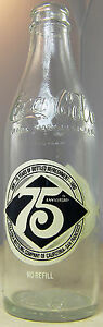 Coca Cola 75th Anniversary Bottle Coke 10 oz San Francisco Empty 1905 -1980
