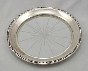 Vintage Sterling Silver Glass Frank M Whiting Wine Bottle Coaster Beaded Edge