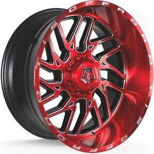 20x12 Red Milled Tis 544rm Wheels 8x170 44 Lifted Fits Ford F 250 F 350