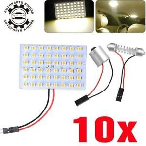10x Warm White T10 1156 Ba15s 48 Smd Panel Led Car Dome Map Interior Light Bulbs