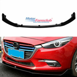 Abs Glossy Black Front Bumper Lip Protector Cover For Mazda 3 Axela 2014 2018