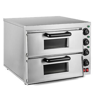 Electric 3000w Pizza Oven Double Deck Bake Broiler Rotisserie Catering 110v