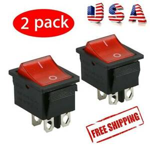 2 Pcs Rocker Switch Dpst On Off Toggle 16 Amp 250v 20 Amp 125v 4 Pin Ec 2604 Usa