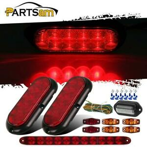 2xstop Turn Tail Light 6xred amber Side Marker brake Light Bar license Lamp wire