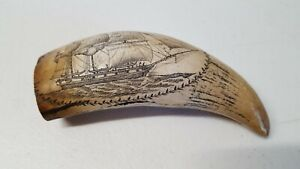 Vintage Scrimshaw Resin Replica Carved Sperm Whale Tooth Ship Nautical Kr18