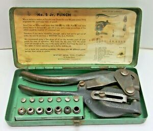 Vintage Whitney No 5 Hand Punch 7 Dies Instructions Complete Tool Set Metal Case