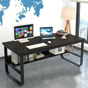 Computer Desk With Bookshelf 47 55in Modern Style Writing Table With Metal Legs