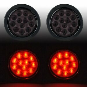 2pcs Smoked Red 4 Round 12 Led Stop Brake Tail Light Grommet Plug Truck Trailer