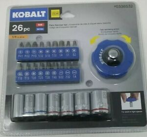 Kobalt 1 4 Drive Sae Metric 26pc Chrome Palm Ratchet Set 0338532