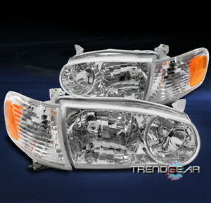 For 2001 2002 Toyota Corolla Replacement Headlights W Corner Signal Lamps Chrome