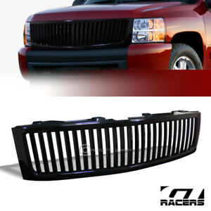 For 2007 2013 Chevy Silverado 1500 Black Vertical Front Bumper Grill Grille Abs