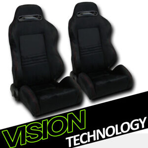T R Style Blk Suede Red Stitch Reclinable Racing Bucket Seats W Sliders L R V14