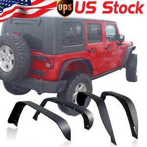 For 2007 2017 Jeep Wrangler Jk Unlimited Flat Fender Flares Textured Steel 16