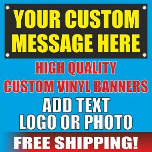 Custom Banner Advertising Vinyl Mesh Adhesive Decal Sign Flag Message Text Here