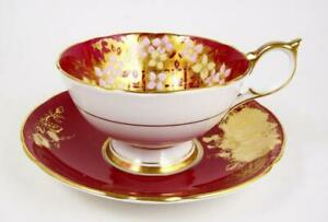 Vintage Aynsley Red Tea Cup Pink Yellow Flowers Rose Decorated Saucer 1930 S