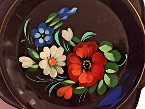 Russian Yeha 83 Toleware Black Metal Plate Tray Painted Flowers 7 Scallop Edge