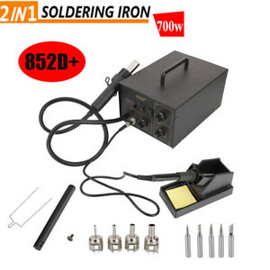 852d Rework Smd Soldering Iron Station Hot Air Gun Desoldering Tool Set 110v
