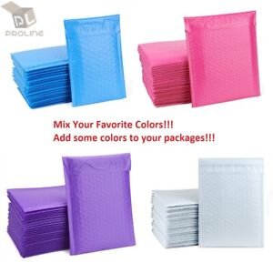 Mix Your Color 50 Poly Bubble Shipping Envelopes Mailers 000 Extra Wide 4 X 8