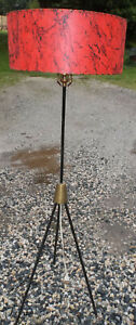 Vintage Iron Tripod Floor Lamp W Red Shade Mid Century Modern Mcm Pickup Pa Md