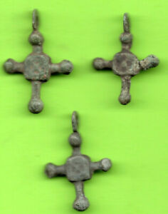 Lot Of 3 Ancient Viking Enamel Bronze Cross Kiev Russia Ukraine Ca 1100 Rare 33