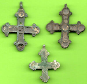Lot Of 3 Ancient Viking Enamel Bronze Cross Kiev Russia Ukraine Ca 1100 Rare 17