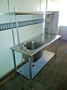 Stainless Steel Table W Deep Sink Commercial Kitchen And Upper Shelf And Faucet