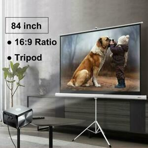 Portable 84 16 9 Hd Projection Projector Screen Pull Up With Tripod Stand
