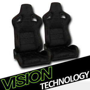 2x Jdm Mu Style Blk Suede Red Stitch Reclinable Racing Bucket Seats W Slider V02