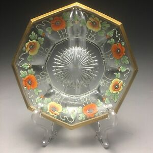 Incredible Heisey Glass Art Nouveau Poppies Flower Decorated Bowl