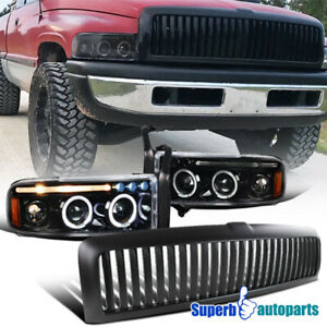 For 1994 2001 Dodge Ram 1500 Black Led Halo Projector Headlights vertical Grille