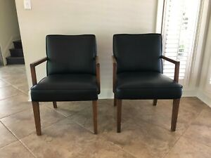 Mid Century Modern Black Leather Armchair Sold As Pair