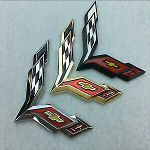 Metal Crossed Flag Decal Emblem For Chevrolet Corvette C7 Stingray Badge Sticker