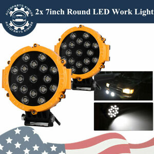 51w Led Work Lights 7inch Spot Driving Off Road Lamp Round Pickup 4x4 Ute Yellow