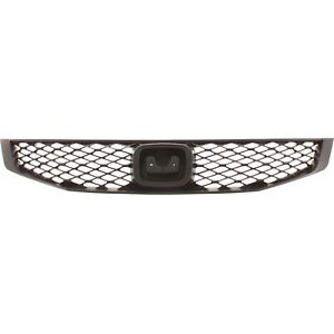Grille For 2009 2011 Honda Civic Coupe Textured Black Plastic