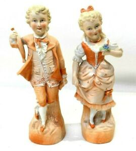Antique Bisque Figurines Matching Pair Boy Girl French German Unmarked