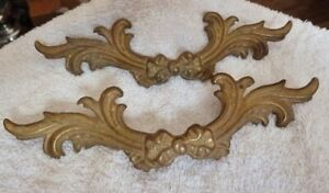 Pair Of Vintage Ornate Brass French Provincial Victorian Drawer Pull Sub 3