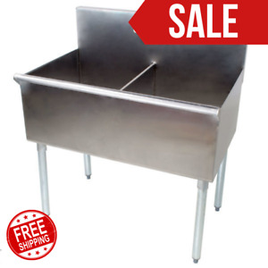 36 2 Compartment Stainless Steel Commercial Utility Prep Two Sink 18 X 21 X14