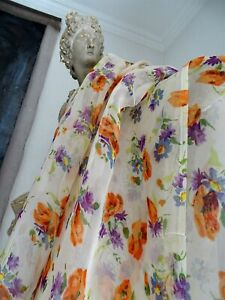 French Antique Fabric Veil 1930 1940 Blueberries And Poppies For Designer